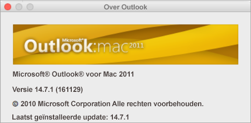 In het vak Info over Outlook staat Outlook voor Mac 2011.