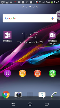 Schermafbeelding van het beginscherm van Android met OneNote badge.