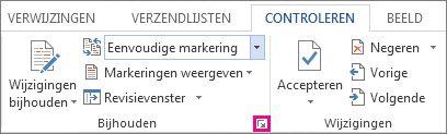 Startpictogram voor het dialoogvenster Opties voor bijhouden van wijzigingen