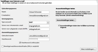 Uw Gmail-serverinstellingen invoeren