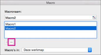 Selecteer een macro en klik op het minteken om deze te verwijderen