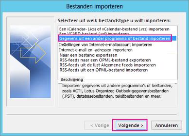 Kies Gegevens uit een ander programma of bestand importeren.