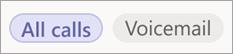 Selecteer Alle oproepen, Gemist of Voicemail