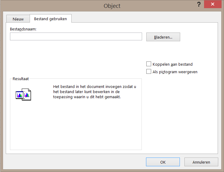 Het tabblad 'Bestand gebruiken' in het dialoogvenster Object.