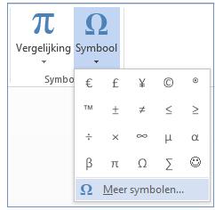Klik in het menu Symbool op Meer symbolen.