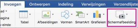 De schermafbeeldingsfunctie in Office 2016 voor Mac