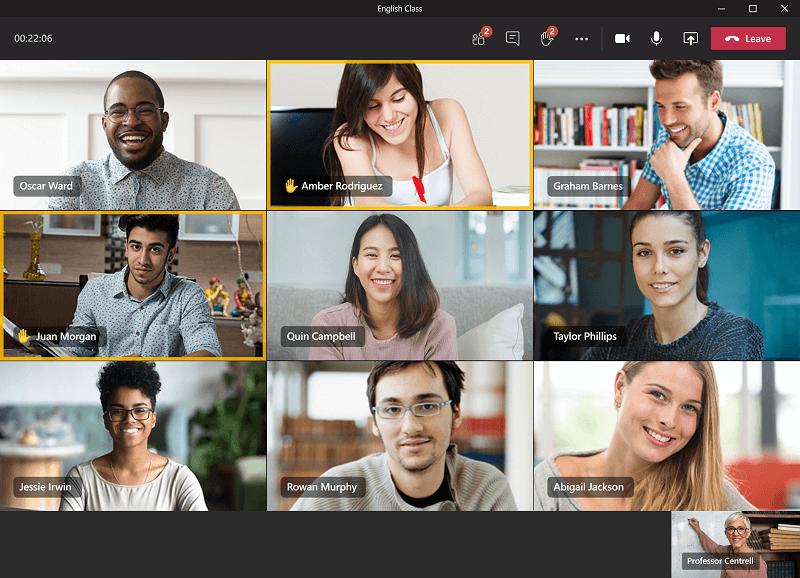 Docent en leerlingen/studenten in een Teams-vergadering