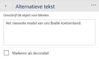 Dialoogvenster met alternatieve tekst in Word Mobile