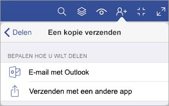 Menu Kopie verzenden met twee opties voor het delen van een bestand: via e-mail met Outlook of door verzenden met een andere app.