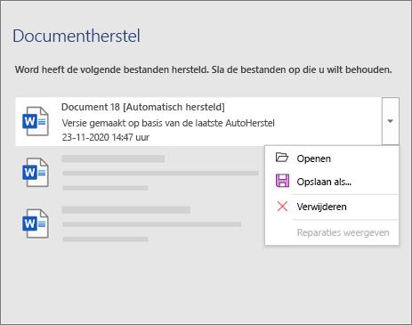 Automatisch hersteld bestand weergegeven in het taakvenster Documenten herstellen