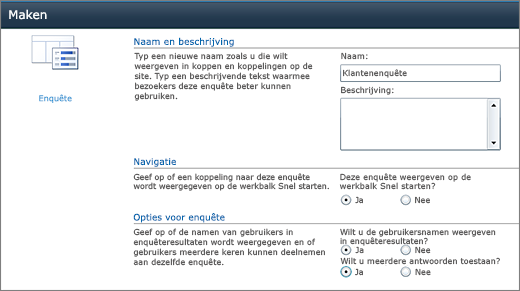 Pagina Opties voor enquête in SharePoint 2010