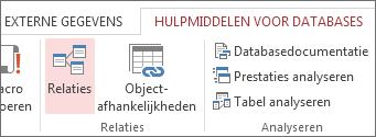 De opdracht Relaties op het tabblad Hulpmiddelen voor databases