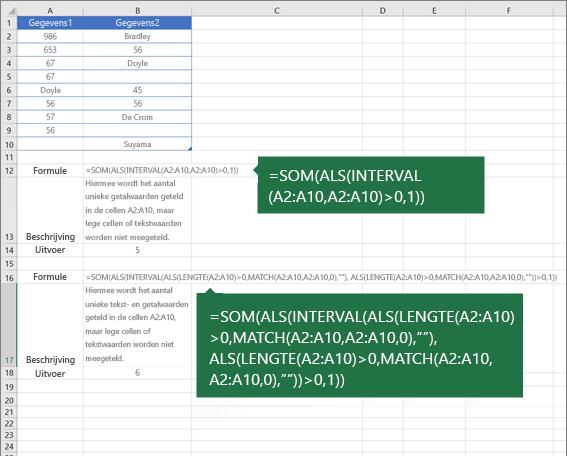 Voorbeelden van geneste functies om het aantal unieke waarden onder duplicaten te tellen