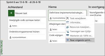 Sprintbord en lijst met beschikbare taakgerelateerde opdrachten
