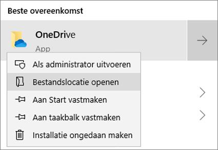 Een schermafbeelding van het snelmenu in het menu Start, waarbij Bestandslocatie openen is geselecteerd.