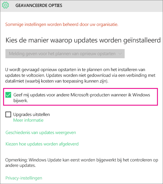 Opties in Windows Update geavanceerd