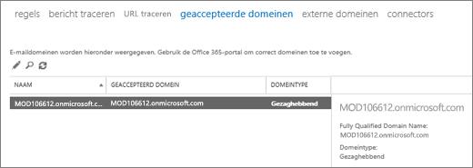 Schermafbeelding van de pagina Geaccepteerde domeinen van het Exchange-beheercentrum. Er wordt informatie over de naam, het geaccepteerde domein en het domeintype weergegeven.