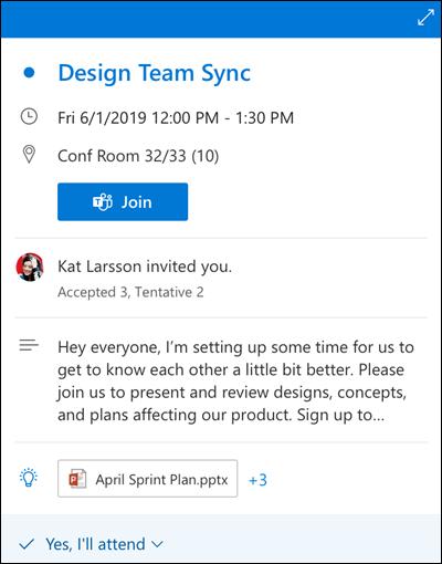 Agenda peek voor de webversie van Outlook.