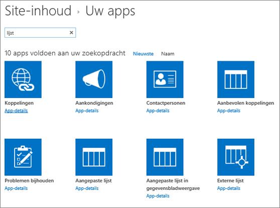 Apps vermelden op de pagina Site-inhoud
