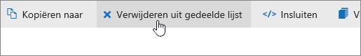 Een schermafbeelding van de knop Verwijderen uit gedeelde lijst op OneDrive.com.