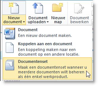 de opdracht documentenset in het menu nieuw document