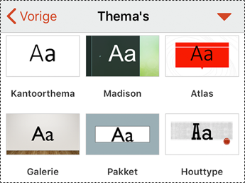 Menu Thema's in PowerPoint voor iOS.