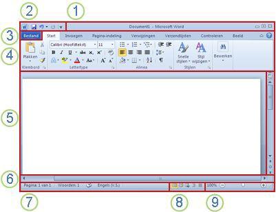 Elementen van het Word-venster