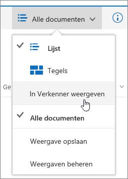 Openen met Explorer gemarkeerd in het weergavemenu in SharePoint Online