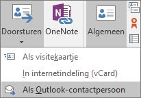 Ga in Outlook naar het tabblad Contactpersoon, kies Doorsturen in de groep Acties en kies vervolgens een optie.
