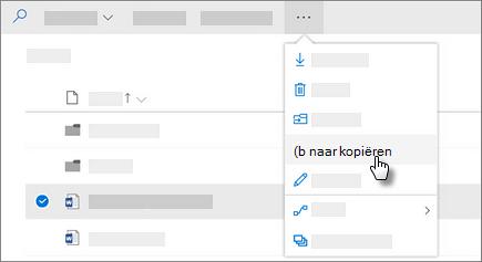 Schermafbeelding van de opdracht Kopiëren in OneDrive voor Bedrijven