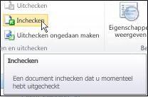SharePoint-lint met cursor die pictogram Inchecken aanwijst