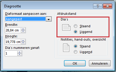 In het dialoogvenster Diagrootte kunt u de afdrukstand van de dia wijzigen in Staand of Liggend.