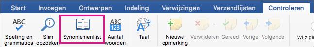 Synoniemenlijst is gemarkeerd op het tabblad Controle.