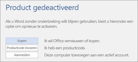 Schermafbeelding met weergave van het foutbericht Product gedeactiveerd