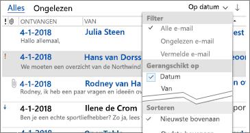 Lijst met beschikbare filters om berichten te sorteren