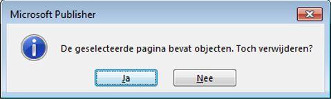 U ontvangt deze waarschuwing als u een pagina met inhoud probeert te verwijderen.