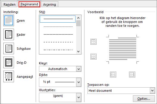 Tabblad Paginarand van het Word 2010-dialoogvenster Randen en arcering