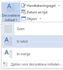 Kies in het menu Decoratieve initiaal de optie In tekst.