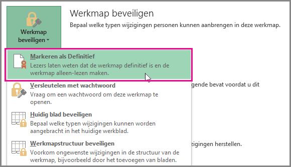 Markeren als Definitief in Office 2016 Excel