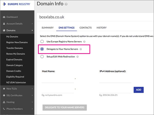 Delegate To Your Name Servers (Delegeren aan uw naamservers) kiezen