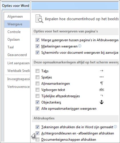 Het selectievakje Achtergrondkleuren en -afbeeldingen afdrukken in het dialoogvenster Word-opties