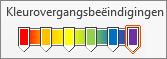 Regenboogkleurovergang met zes kleurovergangsbeëindigingen