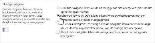 Huidige navigatiesectie met beheerde navigatie geselecteerd