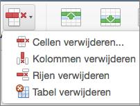 Tabel verwijderen in Office voor Mac