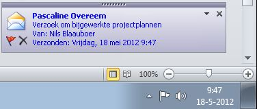 Waarschuwing op het bureaublad voor Outlook