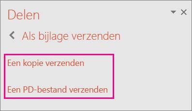 Toont de koppeling Verzenden als PDF in PowerPoint 2016