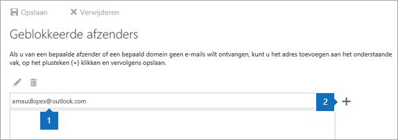 Een schermafbeelding van de pagina Geblokkeerde afzenders.