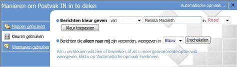 Deelvenster Indelen in Microsoft Office Outlook 2007