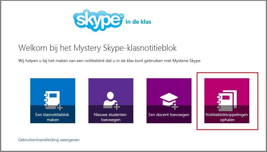 Koppelingen ophalen in Mystery Skype