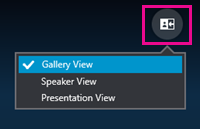 Gebruik de knop Kies een indeling om een weergave van de vergadering te kiezen: galerie, spreker of presentatie